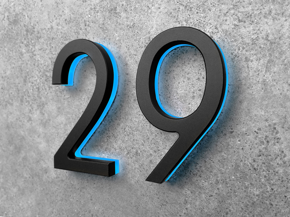Modern Black Lighted House Numbers 8 Luxello