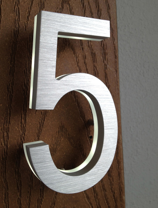 Led numbers are designed by luxello modern brass led house numbers